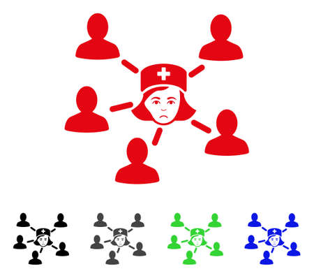 Sad Nurse Linked Patients vector icon. Vector illustration style is a flat iconic nurse linked patients symbol with grey, black, blue, red, green color versions. Face has mourning mood.