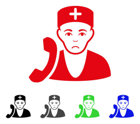Dolor Medical Receptionist vector icon. Vector illustration style is a flat iconic medical receptionist symbol with gray, black, blue, red, green color versions. Face has pitiful expression.