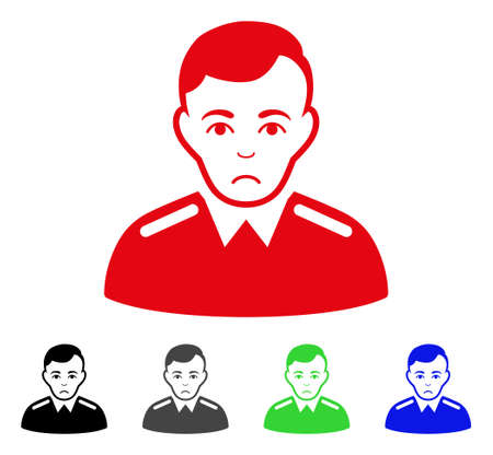 Pitiful Officer vector pictograph. Vector illustration style is a flat iconic officer symbol with gray, black, blue, red, green color variants. Face has depression emotion. Illustration