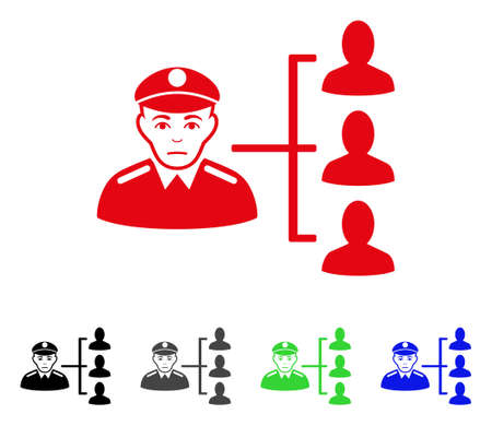 Pitiful Officer Subordinates vector pictogram. Vector illustration style is a flat iconic officer subordinates symbol with gray, black, blue, red, green color versions. Face has pitiful sentiment.