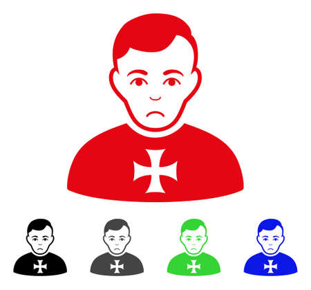 Pitiful Order Chevalier vector pictograph. Vector illustration style is a flat iconic order chevalier symbol with gray, black, blue, red, green color variants. Face has dolour feeling.