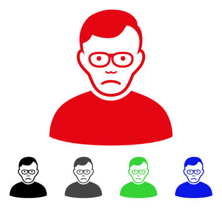 Pitiful Pensioner vector icon. Vector illustration style is a flat iconic pensioner symbol with grey, black, blue, red, green color variants. Face has depression sentiment.