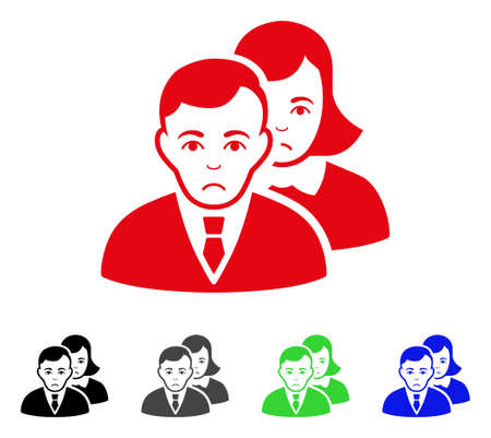 Sad People vector icon. Vector illustration style is a flat iconic people symbol with gray, black, blue, red, green color versions. Face has sad emotion. Illustration