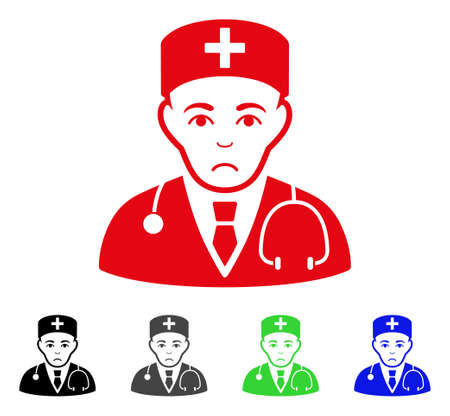 Pitiful Physician vector pictograph. Vector illustration style is a flat iconic physician symbol with gray, black, blue, red, green color versions. Face has unhappy feeling.