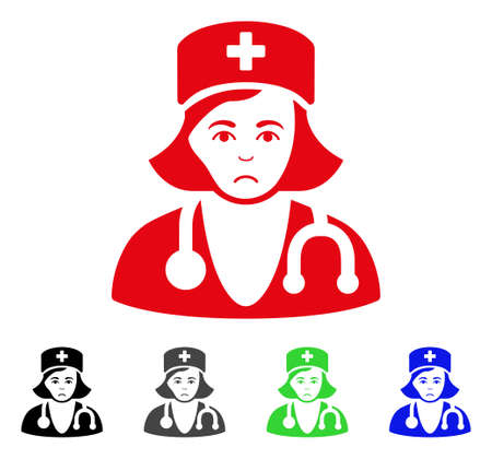 Dolor Physician Lady vector icon. Vector illustration style is a flat iconic physician lady symbol with gray, black, blue, red, green color variants. Face has dolour emotions. Illustration