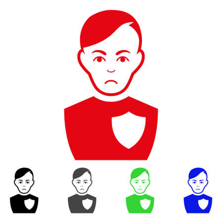 Pitiful Police Officer pictograph  in different colors. Illustration