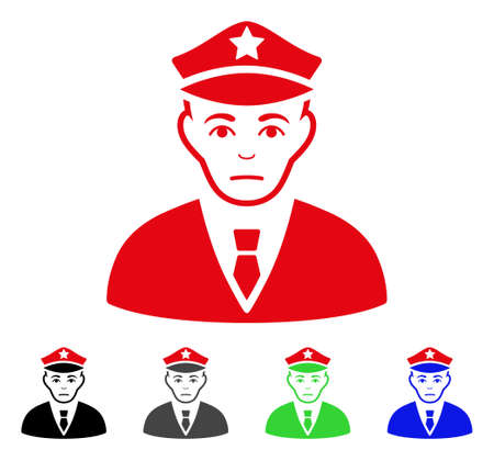 Pitiful Policeman vector icon. Vector illustration style is a flat iconic policeman symbol with gray, black, blue, red, green color versions. Face has desperate expression. Illustration