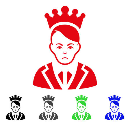 Dolor Prince vector icon. Vector illustration style is a flat iconic prince symbol with gray, black, blue, red, green color versions. Face has depression emotions.