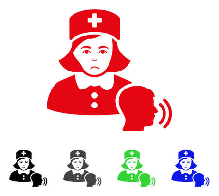 Dolor Psychotherapist Nurse Talking icon  in different colors. Ilustracja