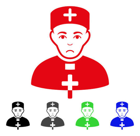 Unhappy Priest Doctor vector icon. Vector illustration style is a flat iconic priest doctor symbol with gray, black, blue, red, green color versions. Face has sadness expression.
