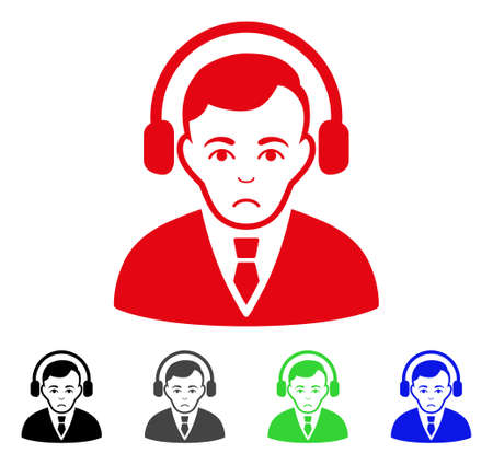 Pitiful Radio Manager vector pictogram. Vector illustration style is a flat iconic radio manager symbol with gray, black, blue, red, green color versions. Face has sorrow emotion. Illustration