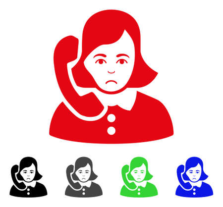 Unhappy Receptionist vector pictograph. Vector illustration style is a flat iconic receptionist symbol with gray, black, blue, red, green color versions. Face has sadly sentiment.