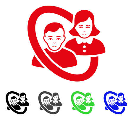Unhappy ringed people couple icon in different colors.