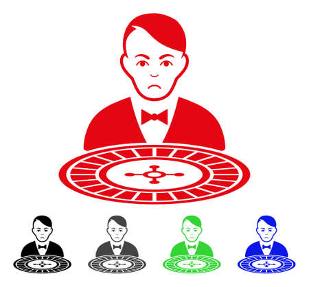 Sadly Roulette Croupier vector pictogram. Vector illustration style is a flat iconic roulette croupier symbol with grey, black, blue, red, green color versions. Face has dolor emotion.