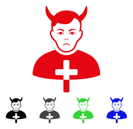 Unhappy Satan Priest icon in different colors. Illustration