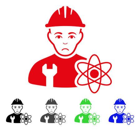 Pitiful Scientist Engineer vector pictogram. Illustration