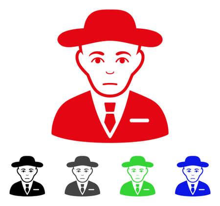 Sad Secret Service Agent vector icon.