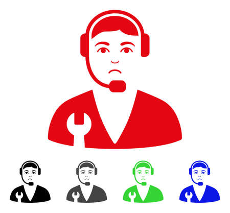 Unhappy Service Operator vector icon. Vector illustration style is a flat iconic service operator symbol with grey, black, blue, red, green color variants. Face has unhappy mood.