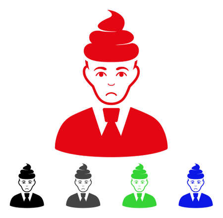 Sad man with dirt on head pictogram in different colors. Illustration