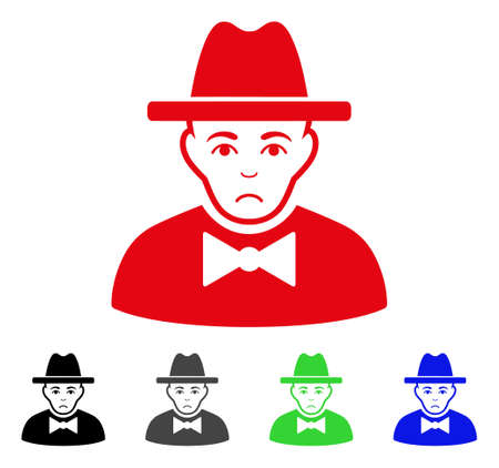Unhappy Spy vector pictogram. Vector illustration style is a flat iconic spy symbol with grey, black, blue, red, green color versions. Face has dolour sentiment.