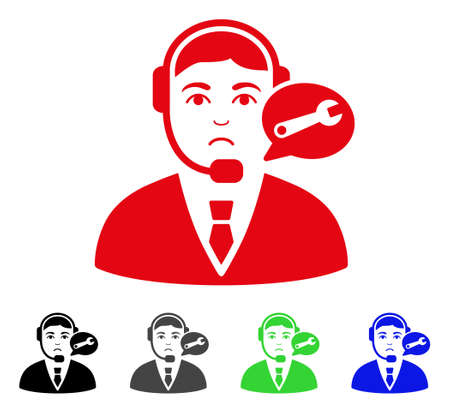 Sad Support Center Manager vector icon. Vector illustration style is a flat iconic support center manager symbol with gray, black, blue, red, green color versions. Face has desperate mood.