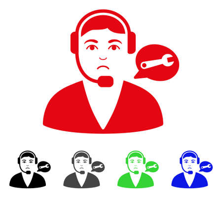 Sad Support Center Operator vector pictogram. Vector illustration style is a flat iconic support center operator symbol with grey, black, blue, red, green color variants. Face has depressed sentiment.