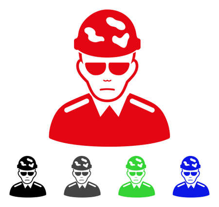Sadly swat soldier vector icon. Vector illustration style is a flat iconic swat soldier symbol with grey, black, blue, red, green color variants. Face has problem emotion.
