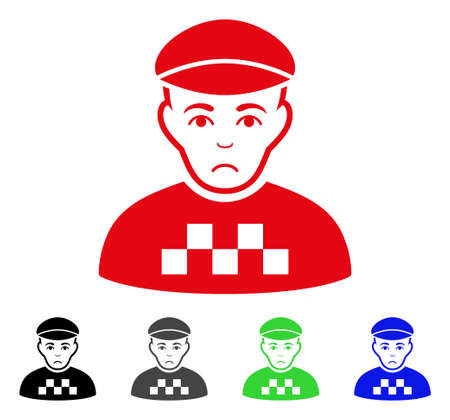 Sad taxi driver vector pictograph. Vector illustration style is a flat iconic taxi driver symbol with gray, black, blue, red, green color versions. Face has unhappy sentiment.