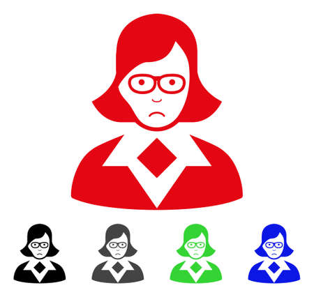 Dolor Teacher Lady vector pictogram. Vector illustration style is a flat iconic teacher lady symbol with gray, black, blue, red, green color versions. Face has sadness sentiment. Illustration