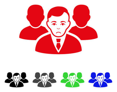 Pitiful team vector pictograph. Vector illustration style is a flat iconic team symbol with grey, black, blue, red, green color versions. Face has problem sentiment. Illustration