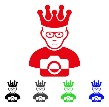 Pitiful Thai King vector pictograph. Vector illustration style is a flat iconic thai king symbol with gray, black, blue, red, green color variants. Face has unhappy emotions. Illustration