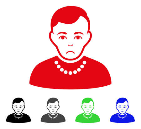 Pitiful Trendy Guy vector pictograph. Vector illustration style is a flat iconic trendy guy symbol with grey, black, blue, red, green color variants. Face has sadness feeling.