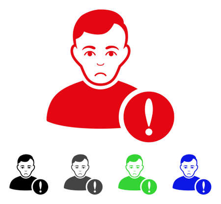Unhappy User Danger vector icon. Vector illustration style is a flat iconic user danger symbol.
