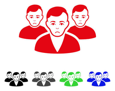 Sadly User Group vector pictogram. Vector illustration style is a flat iconic user group symbol.