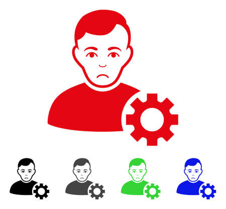 Unhappy User Options Gear vector pictogram. Vector illustration style is a flat iconic user options gear symbol. Illustration