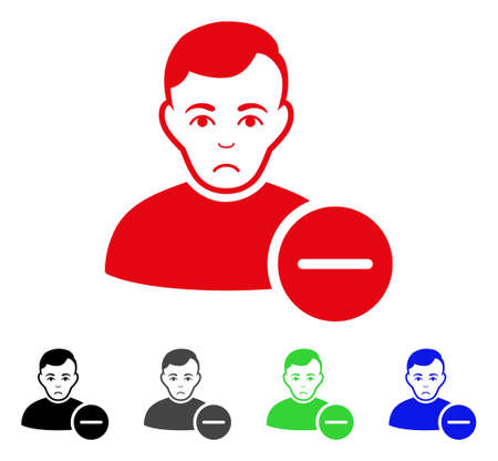 Unhappy user remove vector icon. Vector illustration style is a flat iconic user remove symbol with grey, black, blue, red, green color versions. Face has desperate expression.
