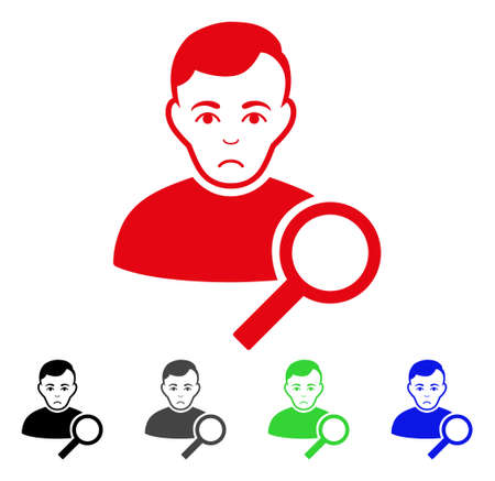 Sad user search vector icon. Vector illustration style is a flat iconic user search symbol with gray, black, blue, red, green color versions. Face has sad emotions. Illustration