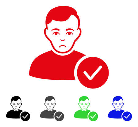 Sadly User Valid vector pictograph. Vector illustration style is a flat iconic user valid symbol. Illustration