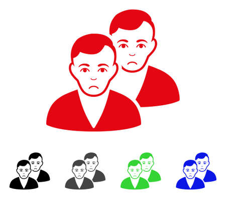 Sadly Users vector pictogram. Vector illustration style is a flat iconic users symbol.