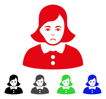 Sadly woman vector pictogram. Vector illustration style is a flat iconic woman symbol with grey, black, blue, red, green color versions. Face has sad sentiment.