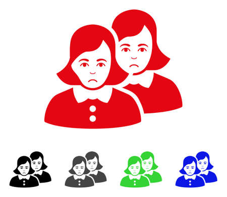 Sadly Women vector pictograph. Vector illustration style is a flat iconic women symbol with gray, black, blue, red, green color variants. Face has sorrow sentiment.