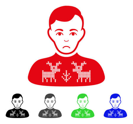 Sadly Deers Pullover Boy vector pictograph. Vector illustration style is a flat iconic deers pullover boy symbol with gray, black, blue, red, green color variants. Face has affliction emotion.