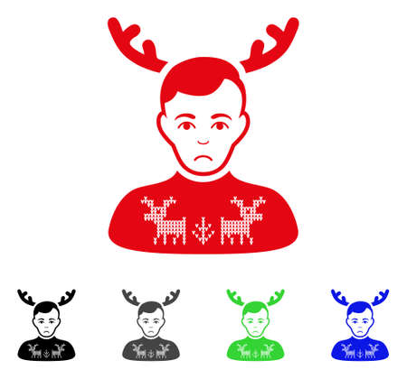 Pitiful Deer Pullover Horned Husband vector pictograph. Vector illustration style is a flat iconic deer pullover horned husband symbol with gray, black, blue, red, green color versions. Illustration