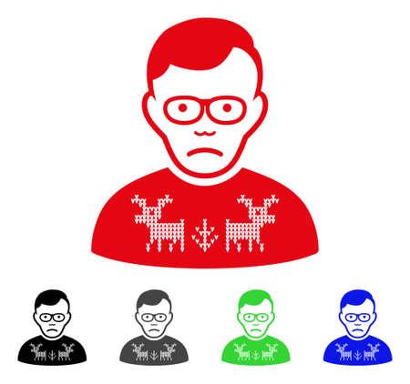 Icône de vecteur Dolor Deer Pullover Loser. Le style d'illustration vectorielle est un symbole de perdant emblématique de cerf plat emblématique avec des versions de couleur grise, noire, bleue, rouge et verte. Le visage a une expression de dépression.