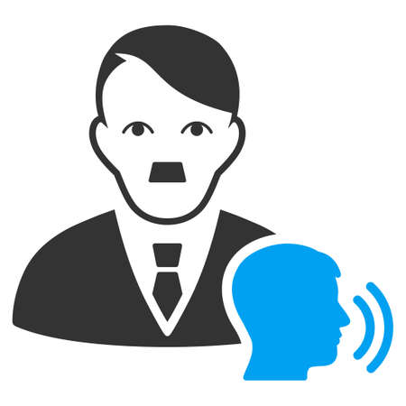 January 28, 2018: a vector illustration of Psychotherapist Visit with fuhrer Hitler face. Flat bicolor blue and gray icon symbol. Pictogram is isolated on a white background.