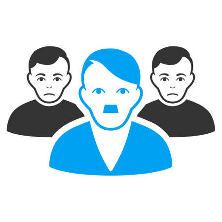 January 28, 2018: a vector illustration of Sad User Group with fuhrer Hitler face. Flat bicolor blue and gray icon symbol. Pictogram is isolated on a white background.