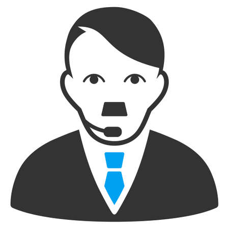 January 28, 2018: a vector illustration of Support Man face. Flat bicolor blue and gray icon symbol. Pictogram is isolated on a white background.