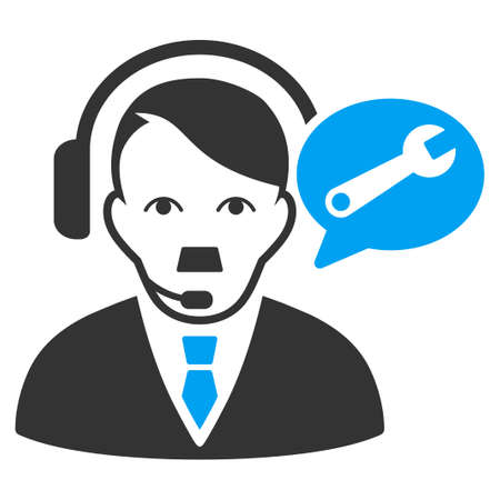 January 28, 2018: a vector illustration of Support Operator. Flat bicolor blue and gray icon symbol. Pictogram is isolated on a white background.