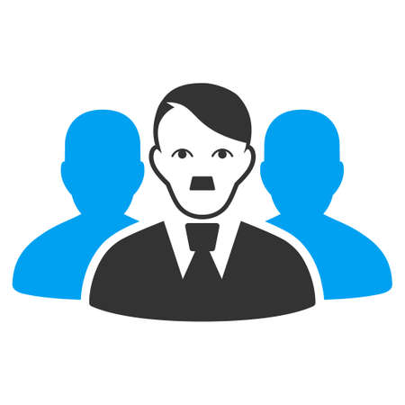 January 28, 2018: a vector illustration of User Group. Flat bicolor blue and gray icon symbol. Pictogram is isolated on a white background.