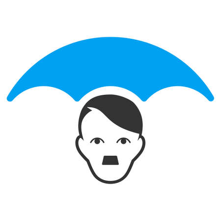 January 28, 2018: a vector illustration of User Umbrella. Flat bicolor blue and gray icon symbol. Pictogram is isolated on a white background. Illustration